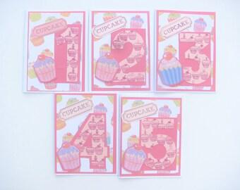 1, 2, 3,4,5 Year Old Girl Number Birthday Cupcake Card