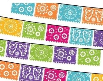 40% OFF SALE Papel Picado Clipart, Digital Fiesta Mexican Banners Clip Art, Cinco de Mayo Clip Art, Printable Papel Picado - FUN