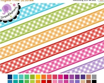40% OFF SALE Digital Ribbon Clipart - Gingham Digital Ribbons - Instant Download - Commercial Use
