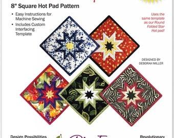 "Square Folded Star Hot Pad Pattern, 8"" Square Hot Pad Pattern"