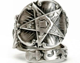 O.E.S. Spoon Ring, Order of the Eastern Star, Masonic Freemason, Sterling Silver, Ruth FATAL, Custom Ring Size, Order of Eastern Star (2827)