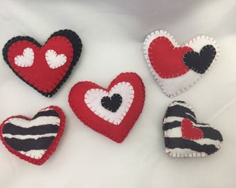 Red, Black, Zebra, and White Hearts Magnet Set- 5 pieces