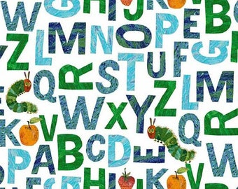 The Very Hungry Caterpillar Alphabet Blue Green A-8686-B by Eric Carle for Andover Fabrics
