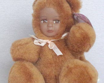 """T-Bear A 5"""" brown plush teddy bear with African American porcelian face"""