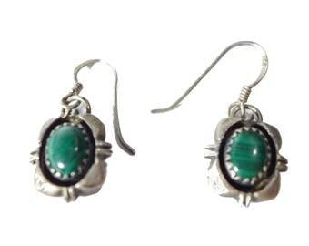 Vintage Sterling Silver Southwestern Malachite Earrings #2429