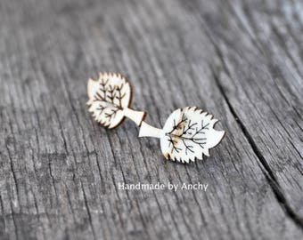 Wooden leaf silver plated stud earrings*
