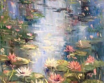 Water lilies Painting original art large painting