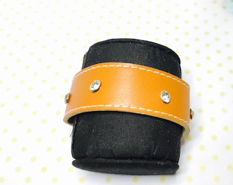 Organic Cuff Leather Bracelet, repurposed/up cycled leather Silver Tone Magnetic Clasp, Hand Made in The USA, Item No. L174
