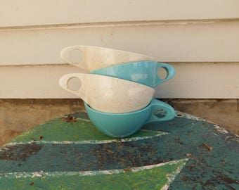 Vintage Holiday Kenro MCM Cups, Turquoise and Beige Speckled Melmac Melamine Coffee Cups, Camping Cups