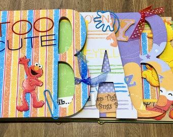 """ELMO Sesame Street """"BABY"""" Premade Chipboard Word Album Just Add Photos"""