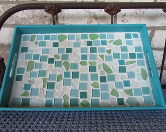 Sea Glass and Tile Mosaic Serving Tray