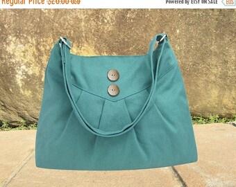 On Sale 20% off Teal green cross body bag / messenger bag / shoulder bag / diaper bag  - cotton canvas