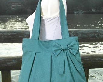 On Sale 20% off Teal green cotton canvas purse with bow / tote bag / shoulder bag / hand bag / diaper bag - zipper closure