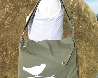On Sale 20% off Olive green cotton canvas  shoulder bag / bird messenger /messenger bag / diaper bag / cross body bag
