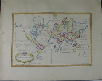 "Vintage Colored Map of the World, ""Carte Reduite du Globe Terrestre"" by Jacques Nicholas Bellin, 1757"