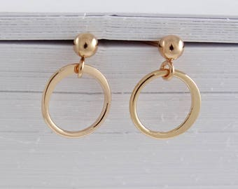 Tiny Circle Drop Post Earrings rose gold sterling silver gold Stud Post Earrings