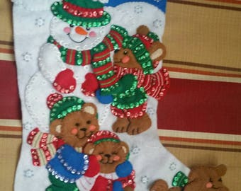 """Finished Felt Christmas Stocking """"Fun in the snow"""" 16 inch"""