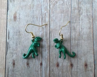 T Rex dangle earrings