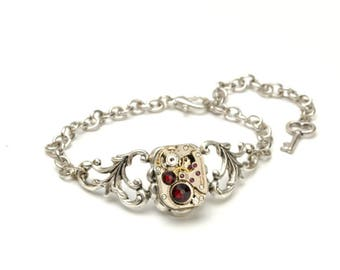 JULY Steampunk Bracelet RUBY Steam Punk Bracelet Steampunk Watch Silver Steampunk Wedding Victorian Steampunk Jewelry Victorian Curiosities