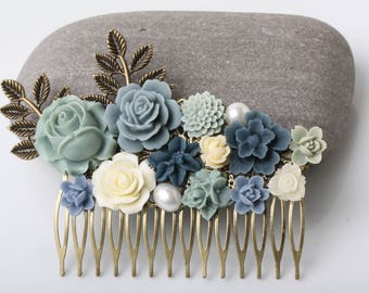 Sage and Navy Wedding Hair Comb, Bridal Hair Comb, Vintage Style hair comb, Garden Wegging, Rustic wedding, Flower Collage Hair Comb, gift