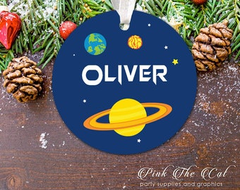 Personalized Christmas Ornament For Newborn, New Baby Christmas Tree Ornament Christmas Gift For Boy Planets Kids First Christmas Decoration