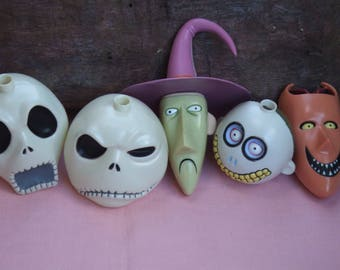 Set of 5 String Light Caps. String Bulb Covers. From Nightmare Before Christmas. Shock, Lock, Barrel and Jack. Rare.