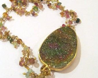 Summer SALE Russian rainbow pyrite and tourmaline bracelet