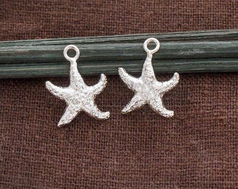 2 of 925 Sterling Silver Starfish Charms 13x15mm. :th2614