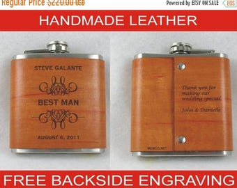 ON SALE Set of 11 Groomsmen Flask, Handmade Leather, Personalized Flask with FREE Backside Engraving!