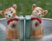 Vintage 1950s  Ceramic Kitsch Cat Bookends Kitty Bookends Feline Bookends Made in England