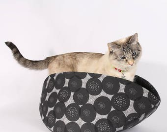 Cat Bed for large kitties made in grey and black cotton fabric - the Jumbo Cat Canoe
