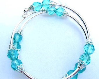 Turquoise crystal Memory Wire 2 coil  silver delicate