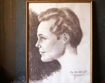 Vintage Framed Charcoal Drawing of a Handsome Man - Side Portrait - 1950's Original Art by Josef Feuchtinger