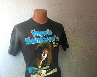 Vintage 80's Metal T Shirt Yngwie Malmsteen Rising Force Tour 1988 Japan