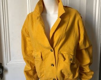 80's Vintage Yellow Muslin Indian Cotton Bomber Jacket large