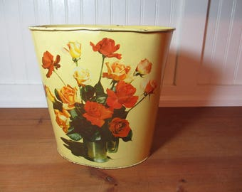 Vintage Yellow Metal Trash Can with Roses, Waste Basket, Rubbish Bin, Shabby Chic, Cottage