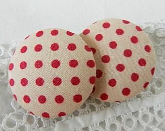 Fabric button pink fuchsia polka dots, 32 mm