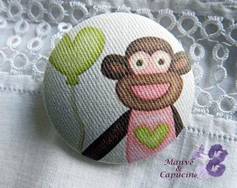 Fabric buttons, monkey, 1.25 in / 32 mm