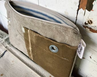 FRANCE - reconstructed vintage la postes france mail bag small zippered pouch
