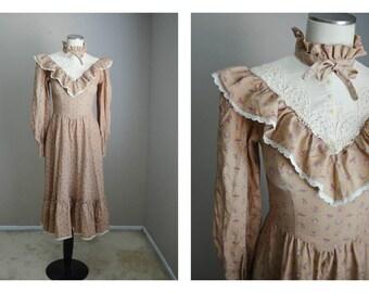 vintage 70s gunne sax midi light brown feminine lolita tiered floral bohemian victorian dress -- womens xsmall-- 33-25-free
