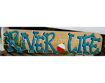 """River Life sign, River decor, river painting, hand painted cypress sign 24""""x6"""""""