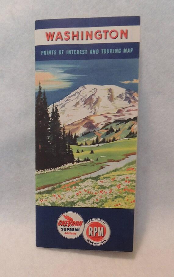 Vintage 1949 Washington State Road Highway Map.. Chevron Gas.. Mt Ranier Cover