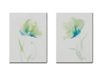 """Set of 2-5X7"""" Original Watercolor Floral Decor Art Wall Home Decor- Lime Green Teal Blue poppy Impressionistic"""