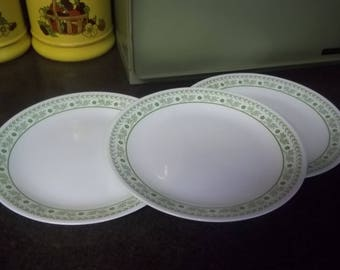 Three (3) Green Summer Impressions by Corelle dessert plates, hard to find