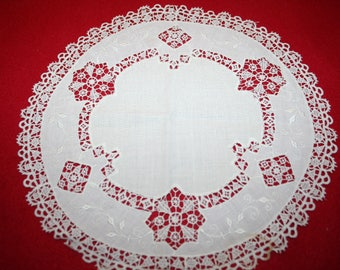 Vintage Lace & Fabric Doily- 9.5 inches- Lot of 2