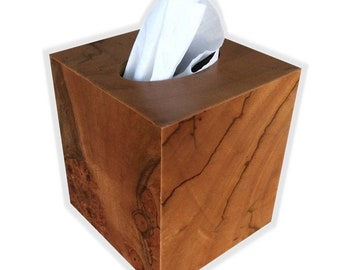 Tissue box cover exotic Pepperwood Burl - square cube