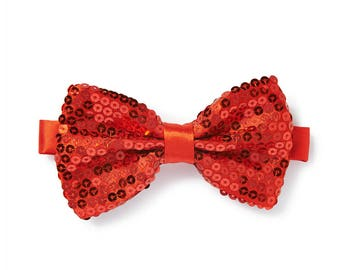Men's Sequin Bow Tie - Red