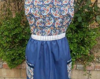 Vintage look womens apron-navy blue paisley print cotton apron great gift idea