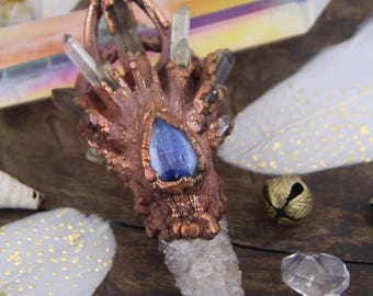 "The Power of 12 : Crystal Point, Citrine Spirit Quartz Druzy, Kyanite, 4.5x2"", Electroformed Copper, Focal Pendant, Magical Statement Piece"