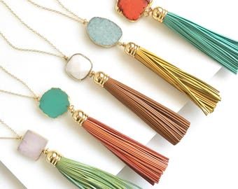 Tassel Necklace. Leather Tassel Necklace. Turquoise Orange Aqua Tassel Necklace. Long Tassel Necklace. Boho Tassel Jewelry.
